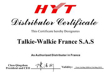 certifié HYT Talkie Walkie